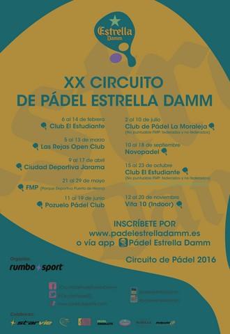 Cartel del XX Circuito de Pádel Estrella Damm